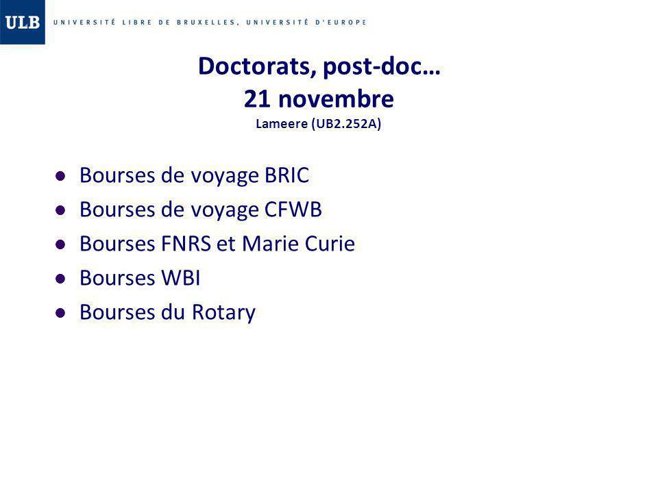 Doctorats, post-doc… 21 novembre Lameere (UB2.252A)