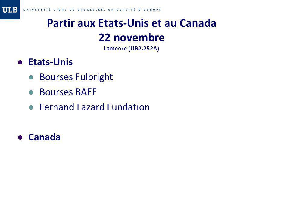 Partir aux Etats-Unis et au Canada 22 novembre Lameere (UB2.252A)
