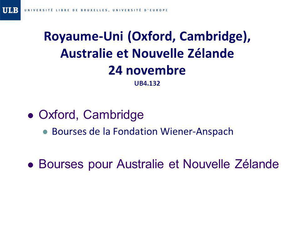 Royaume-Uni (Oxford, Cambridge), Australie et Nouvelle Zélande 24 novembre UB4.132