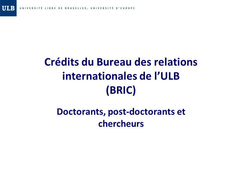 Crédits du Bureau des relations internationales de l'ULB (BRIC)