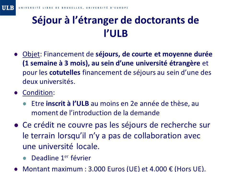 Séjour à l'étranger de doctorants de l'ULB