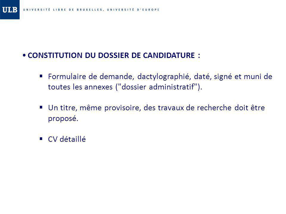 CONSTITUTION DU DOSSIER DE CANDIDATURE :
