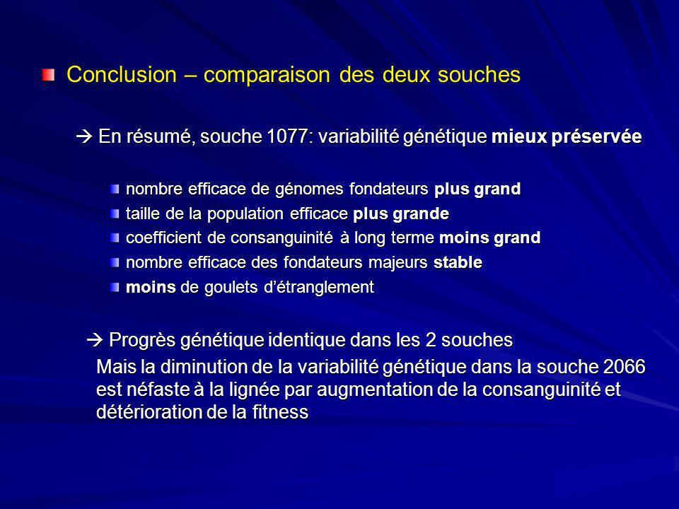 Conclusion – comparaison des deux souches