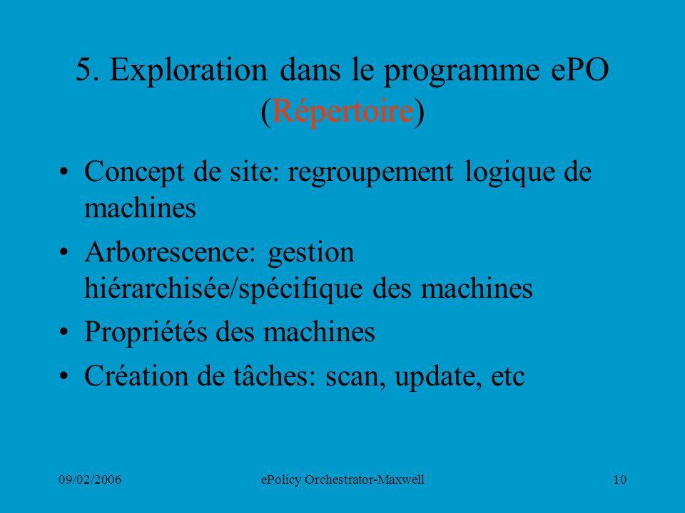 5. Exploration dans le programme ePO (Répertoire)