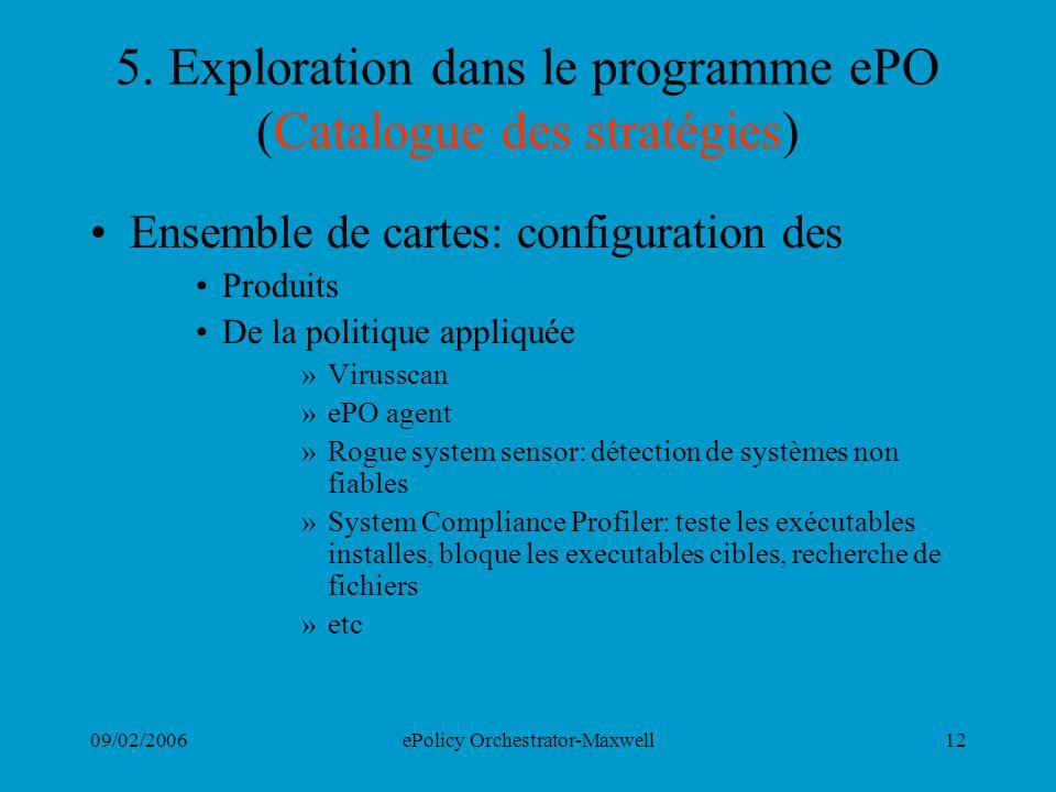 5. Exploration dans le programme ePO (Catalogue des stratégies)