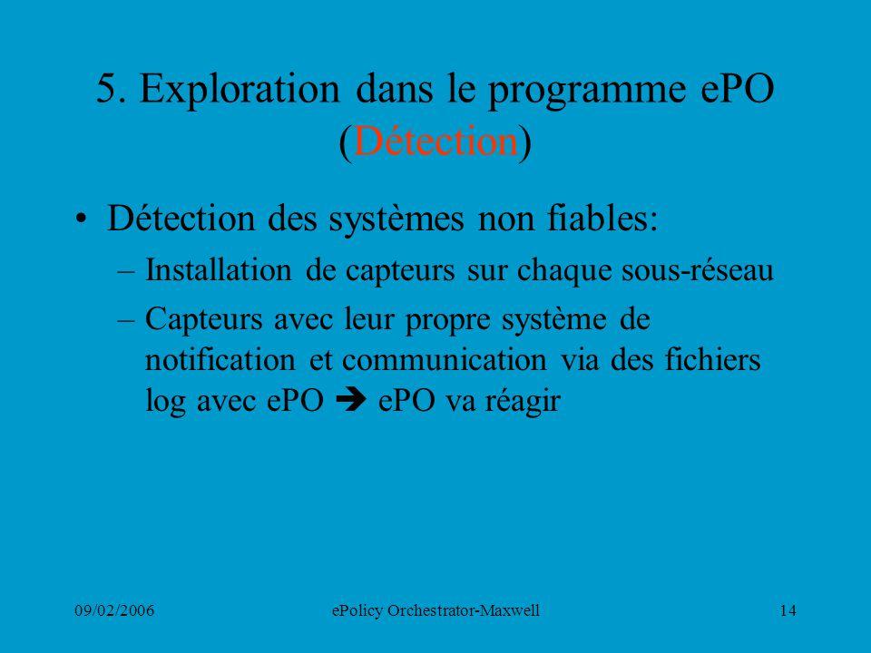 5. Exploration dans le programme ePO (Détection)
