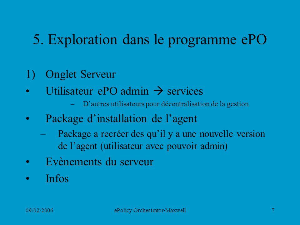 5. Exploration dans le programme ePO