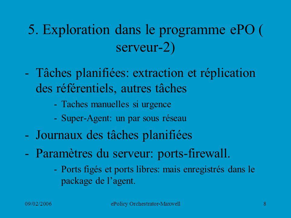 5. Exploration dans le programme ePO ( serveur-2)