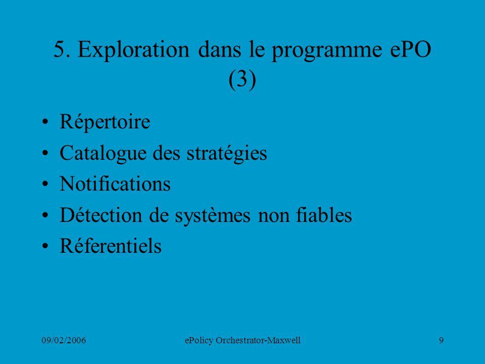 5. Exploration dans le programme ePO (3)