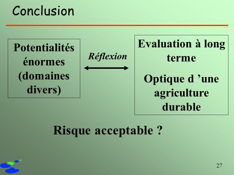 Conclusion Risque acceptable Evaluation à long terme