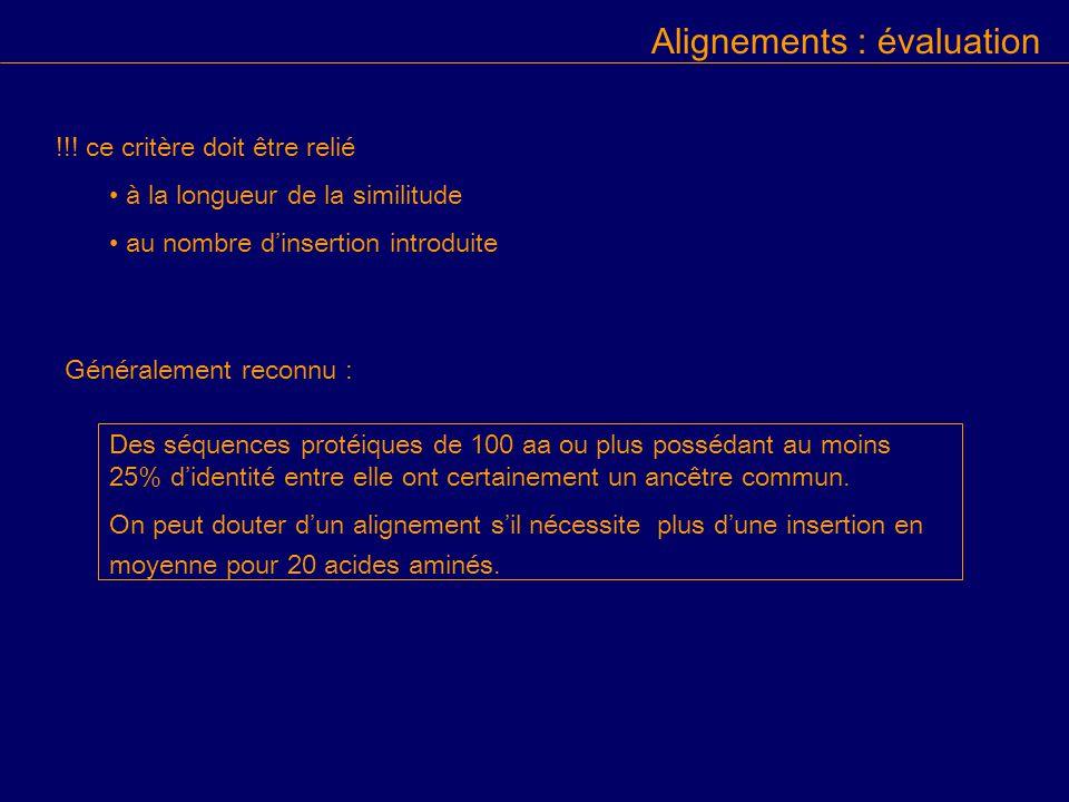 Alignements : évaluation