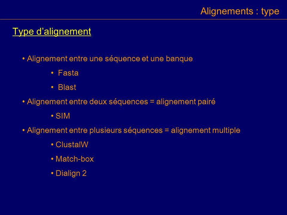 Alignements : type Type d'alignement