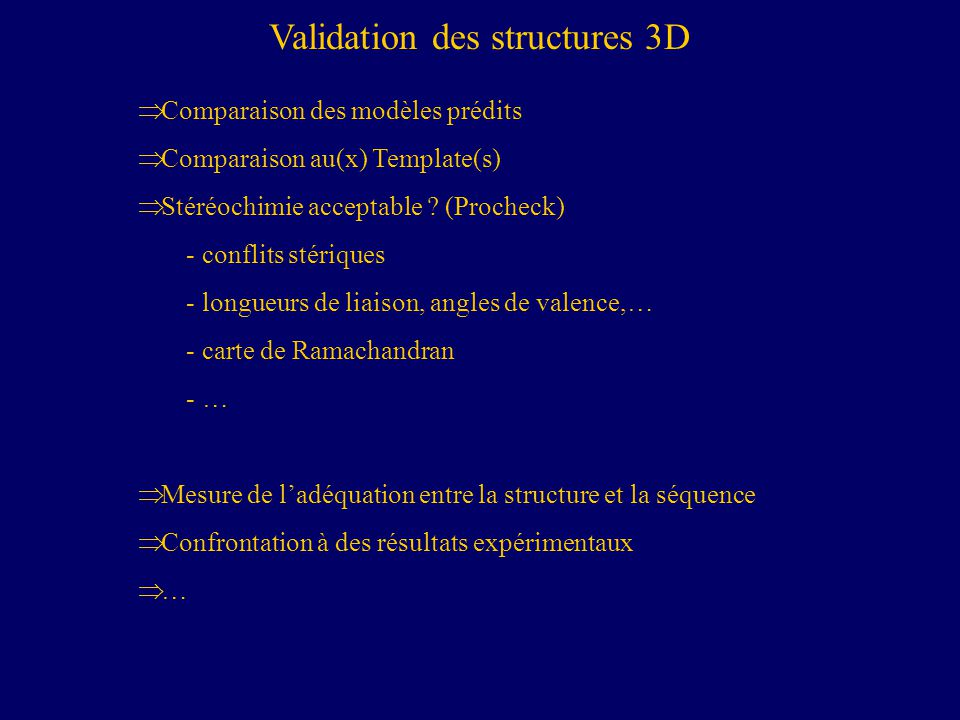 Validation des structures 3D