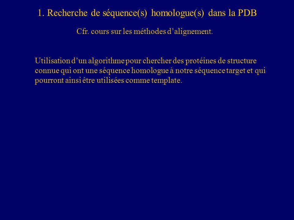 1. Recherche de séquence(s) homologue(s) dans la PDB