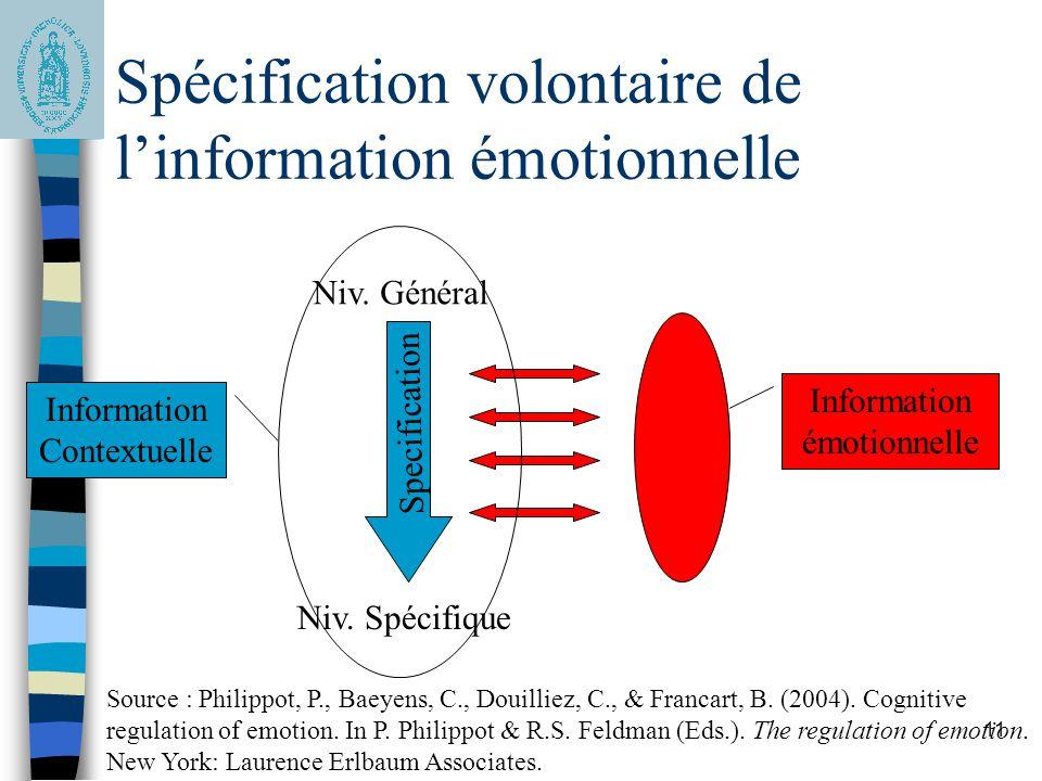 Spécification volontaire de l'information émotionnelle