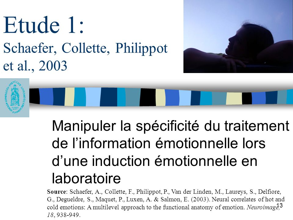 Etude 1: Schaefer, Collette, Philippot et al., 2003