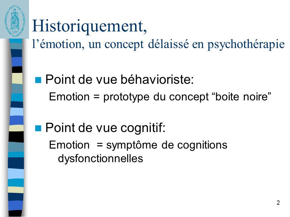 Historiquement, l'émotion, un concept délaissé en psychothérapie