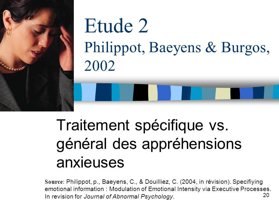 Etude 2 Philippot, Baeyens & Burgos, 2002
