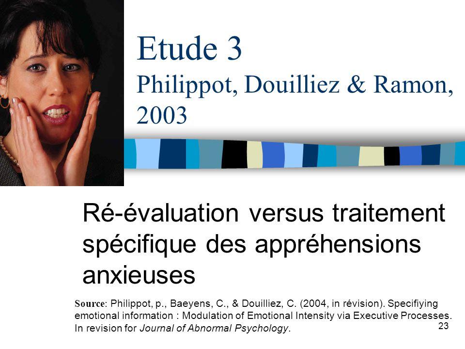 Etude 3 Philippot, Douilliez & Ramon, 2003