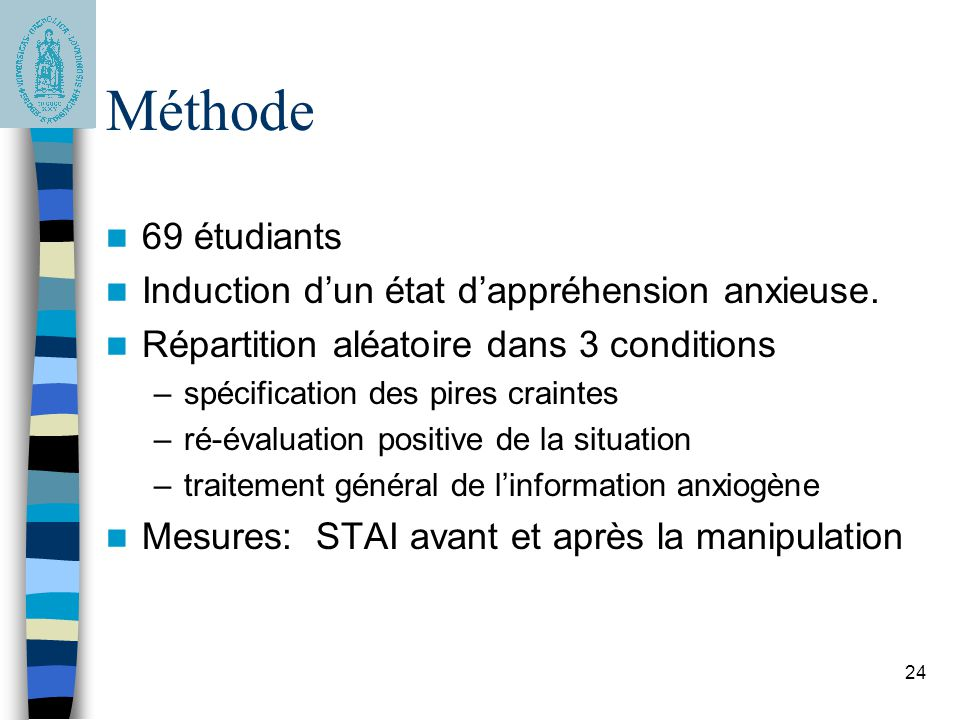 Méthode 69 étudiants Induction d'un état d'appréhension anxieuse.