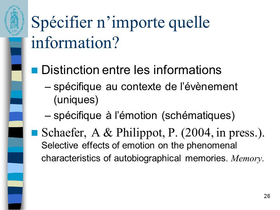 Spécifier n'importe quelle information