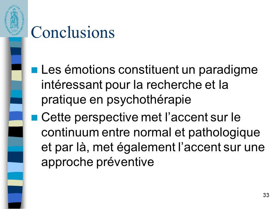 Conclusions Les émotions constituent un paradigme intéressant pour la recherche et la pratique en psychothérapie.