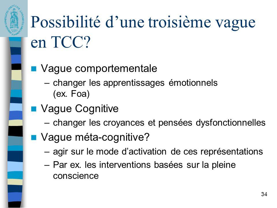 Possibilité d'une troisième vague en TCC