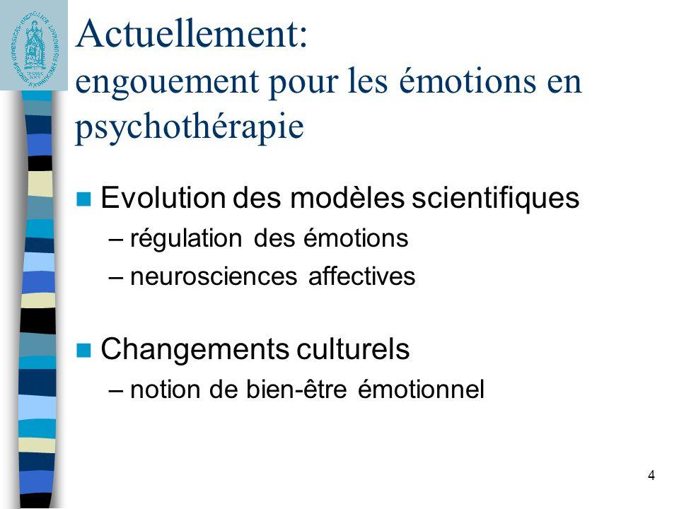 Actuellement: engouement pour les émotions en psychothérapie