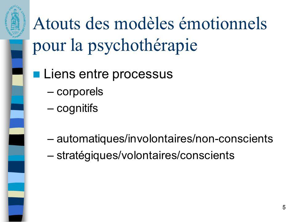 Atouts des modèles émotionnels pour la psychothérapie