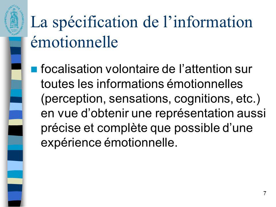 La spécification de l'information émotionnelle