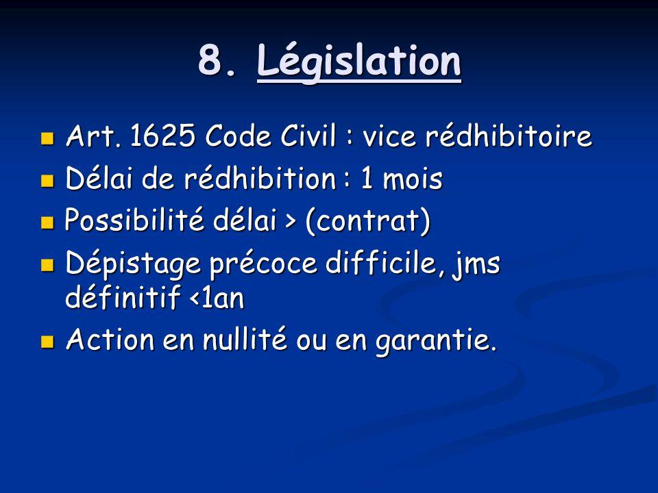 8. Législation Art. 1625 Code Civil : vice rédhibitoire