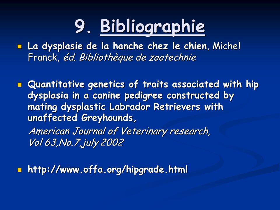 9. Bibliographie La dysplasie de la hanche chez le chien, Michel Franck, éd. Bibliothèque de zootechnie.