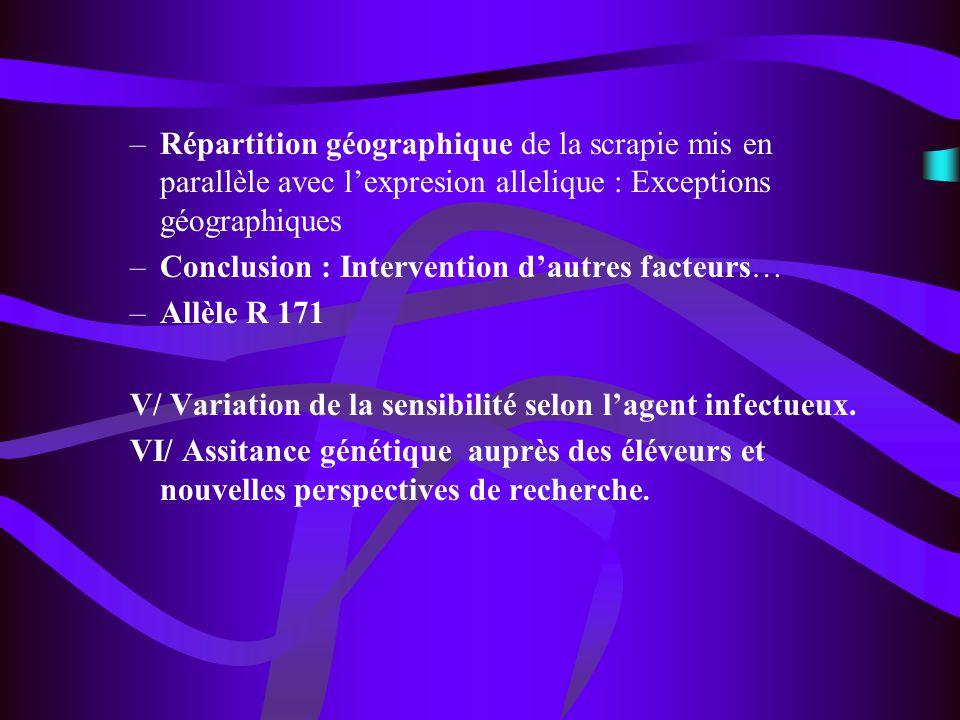 Répartition géographique de la scrapie mis en parallèle avec l'expresion allelique : Exceptions géographiques