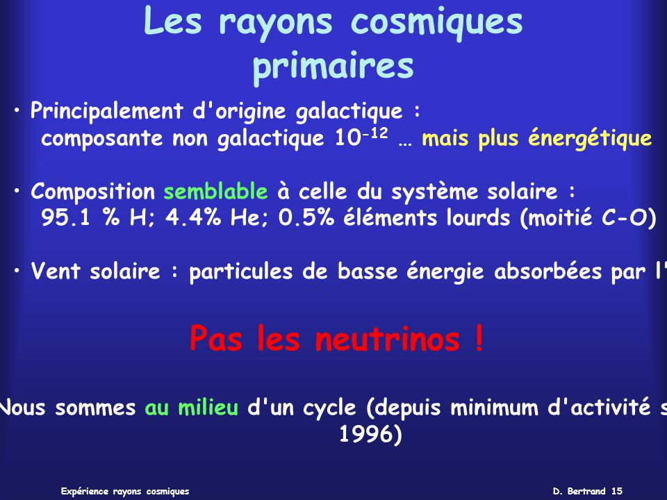 Les rayons cosmiques primaires