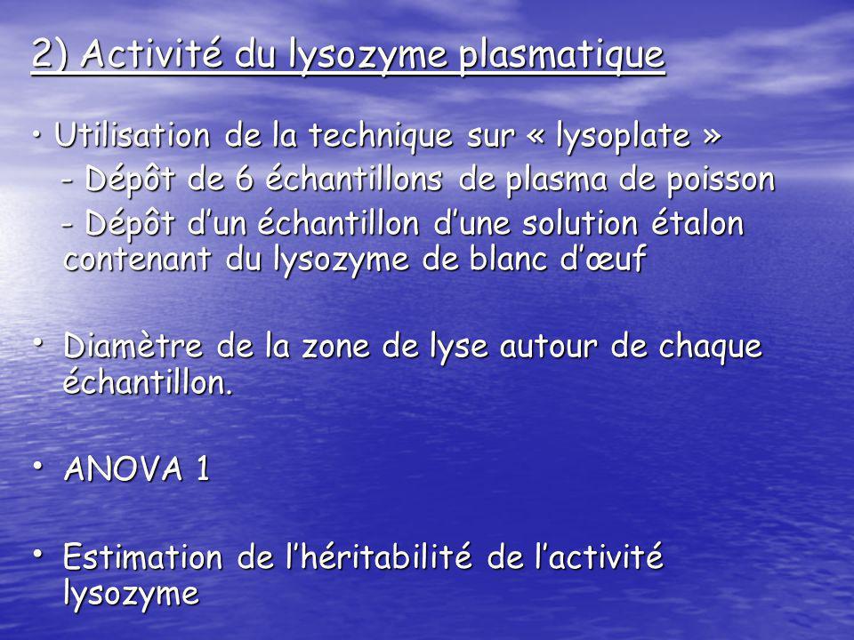 2) Activité du lysozyme plasmatique