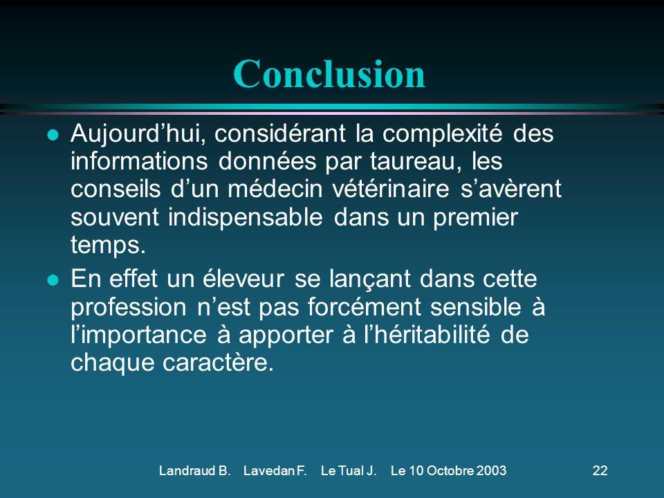 Landraud B. Lavedan F. Le Tual J. Le 10 Octobre 2003