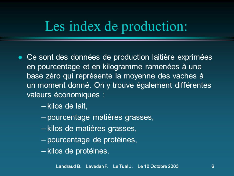 Les index de production: