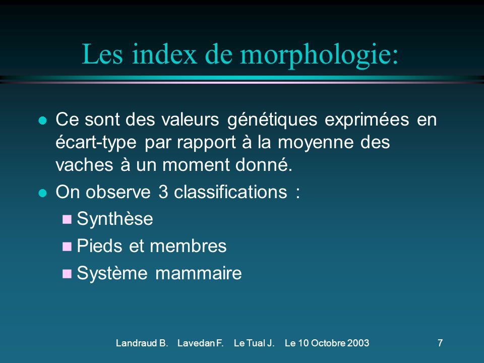 Les index de morphologie: