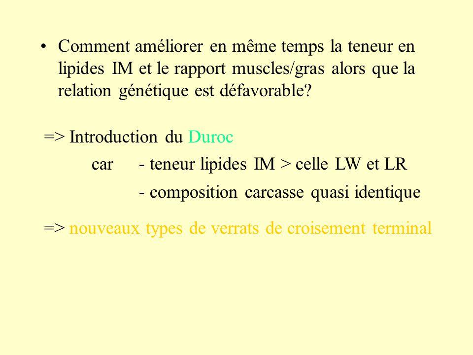 Comment améliorer en même temps la teneur en lipides IM et le rapport muscles/gras alors que la relation génétique est défavorable