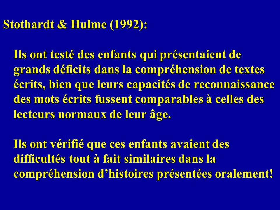 Stothardt & Hulme (1992): Ils ont testé des enfants qui présentaient de grands déficits dans la compréhension de textes écrits, bien que leurs capacités de reconnaissance des mots écrits fussent comparables à celles des lecteurs normaux de leur âge.