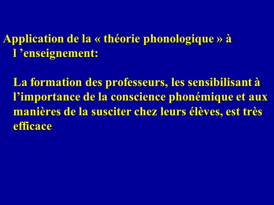 Application de la « théorie phonologique » à l 'enseignement: La formation des professeurs, les sensibilisant à l'importance de la conscience phonémique et aux manières de la susciter chez leurs élèves, est très efficace