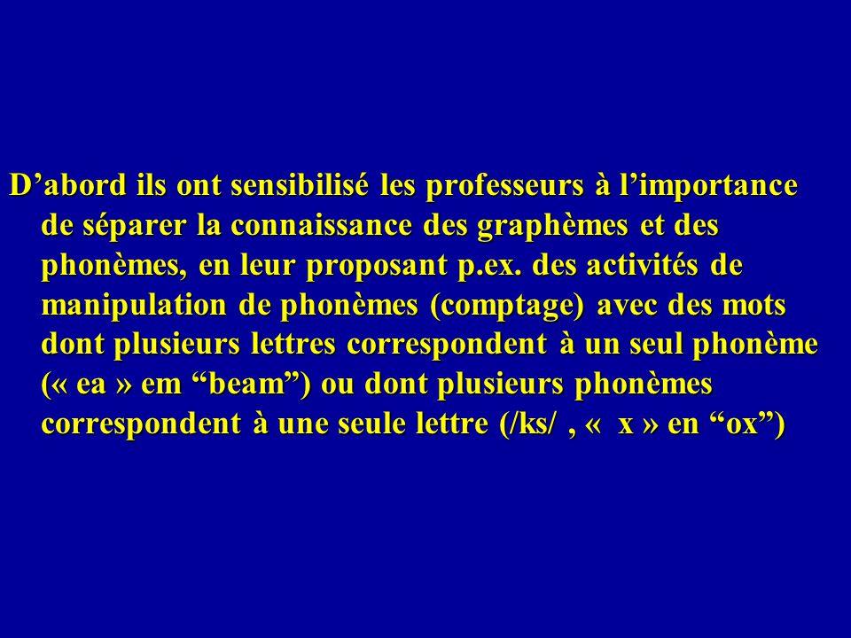 D'abord ils ont sensibilisé les professeurs à l'importance de séparer la connaissance des graphèmes et des phonèmes, en leur proposant p.ex.