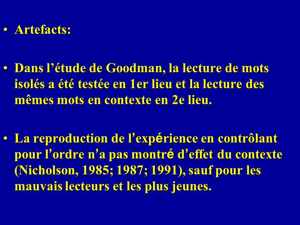 Artefacts: Dans l'étude de Goodman, la lecture de mots isolés a été testée en 1er lieu et la lecture des mêmes mots en contexte en 2e lieu.