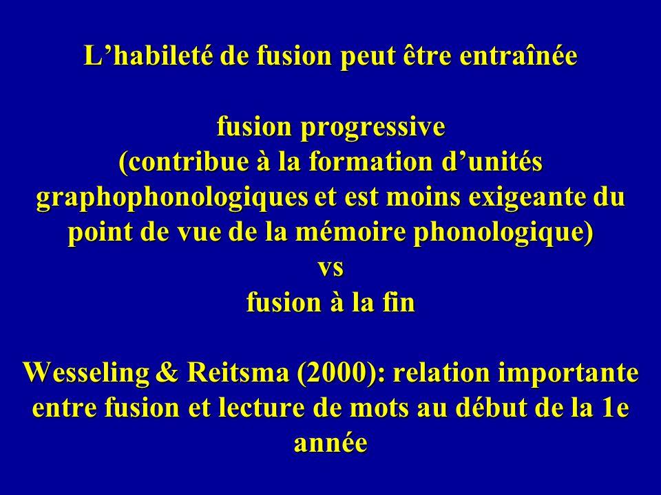 L'habileté de fusion peut être entraînée fusion progressive (contribue à la formation d'unités graphophonologiques et est moins exigeante du point de vue de la mémoire phonologique) vs fusion à la fin Wesseling & Reitsma (2000): relation importante entre fusion et lecture de mots au début de la 1e année