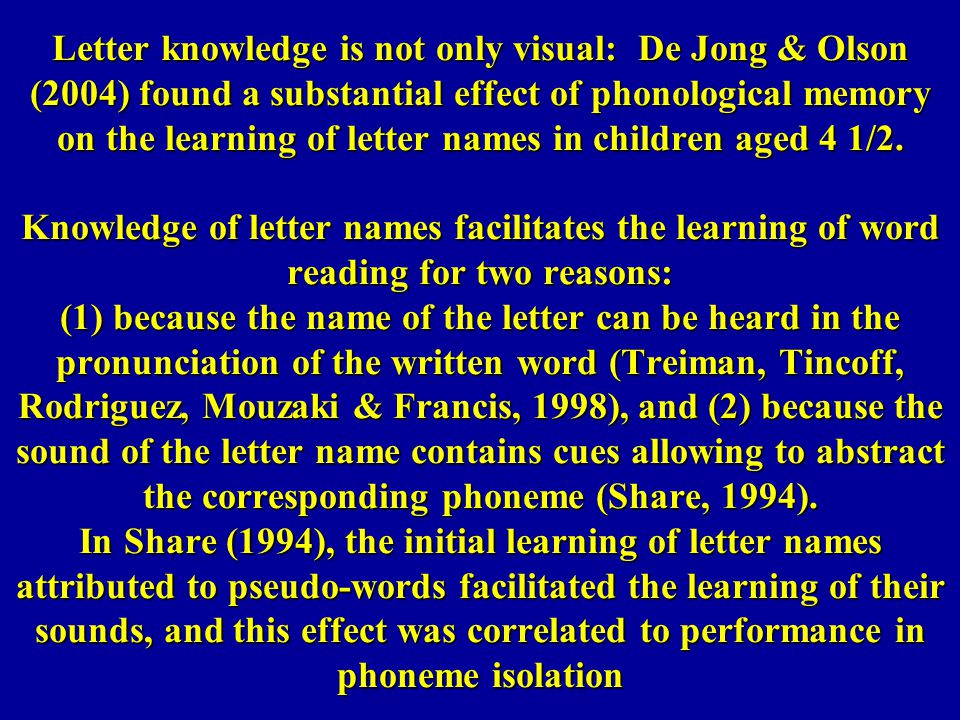 Letter knowledge is not only visual: De Jong & Olson (2004) found a substantial effect of phonological memory on the learning of letter names in children aged 4 1/2.