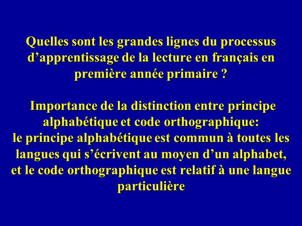 Quelles sont les grandes lignes du processus d'apprentissage de la lecture en français en première année primaire .