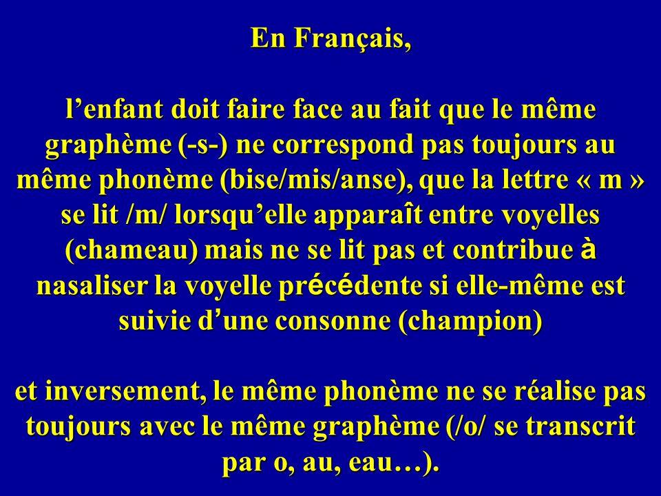 En Français, l'enfant doit faire face au fait que le même graphème (-s-) ne correspond pas toujours au même phonème (bise/mis/anse), que la lettre « m » se lit /m/ lorsqu'elle apparaît entre voyelles (chameau) mais ne se lit pas et contribue à nasaliser la voyelle précédente si elle-même est suivie d'une consonne (champion) et inversement, le même phonème ne se réalise pas toujours avec le même graphème (/o/ se transcrit par o, au, eau…).