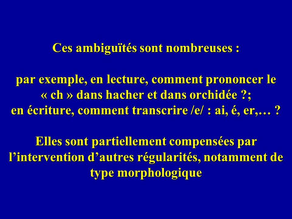 Ces ambiguïtés sont nombreuses : par exemple, en lecture, comment prononcer le « ch » dans hacher et dans orchidée ; en écriture, comment transcrire /e/ : ai, é, er,… .