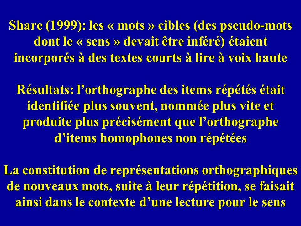 Share (1999): les « mots » cibles (des pseudo-mots dont le « sens » devait être inféré) étaient incorporés à des textes courts à lire à voix haute Résultats: l'orthographe des items répétés était identifiée plus souvent, nommée plus vite et produite plus précisément que l'orthographe d'items homophones non répétées La constitution de représentations orthographiques de nouveaux mots, suite à leur répétition, se faisait ainsi dans le contexte d'une lecture pour le sens