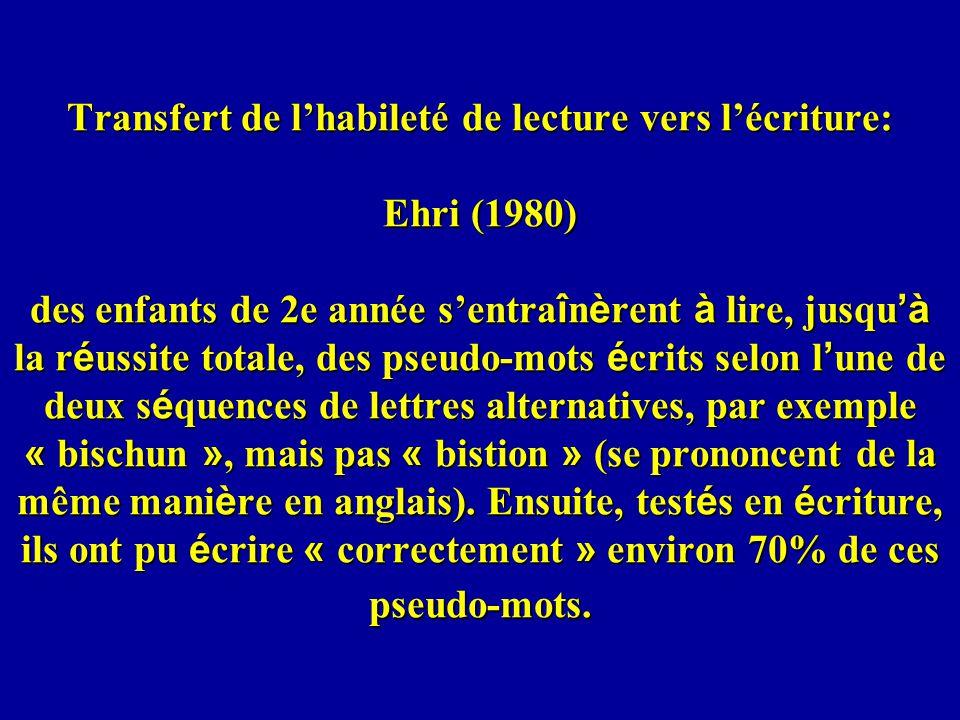 Transfert de l'habileté de lecture vers l'écriture: Ehri (1980) des enfants de 2e année s'entraînèrent à lire, jusqu'à la réussite totale, des pseudo-mots écrits selon l'une de deux séquences de lettres alternatives, par exemple « bischun », mais pas « bistion » (se prononcent de la même manière en anglais).